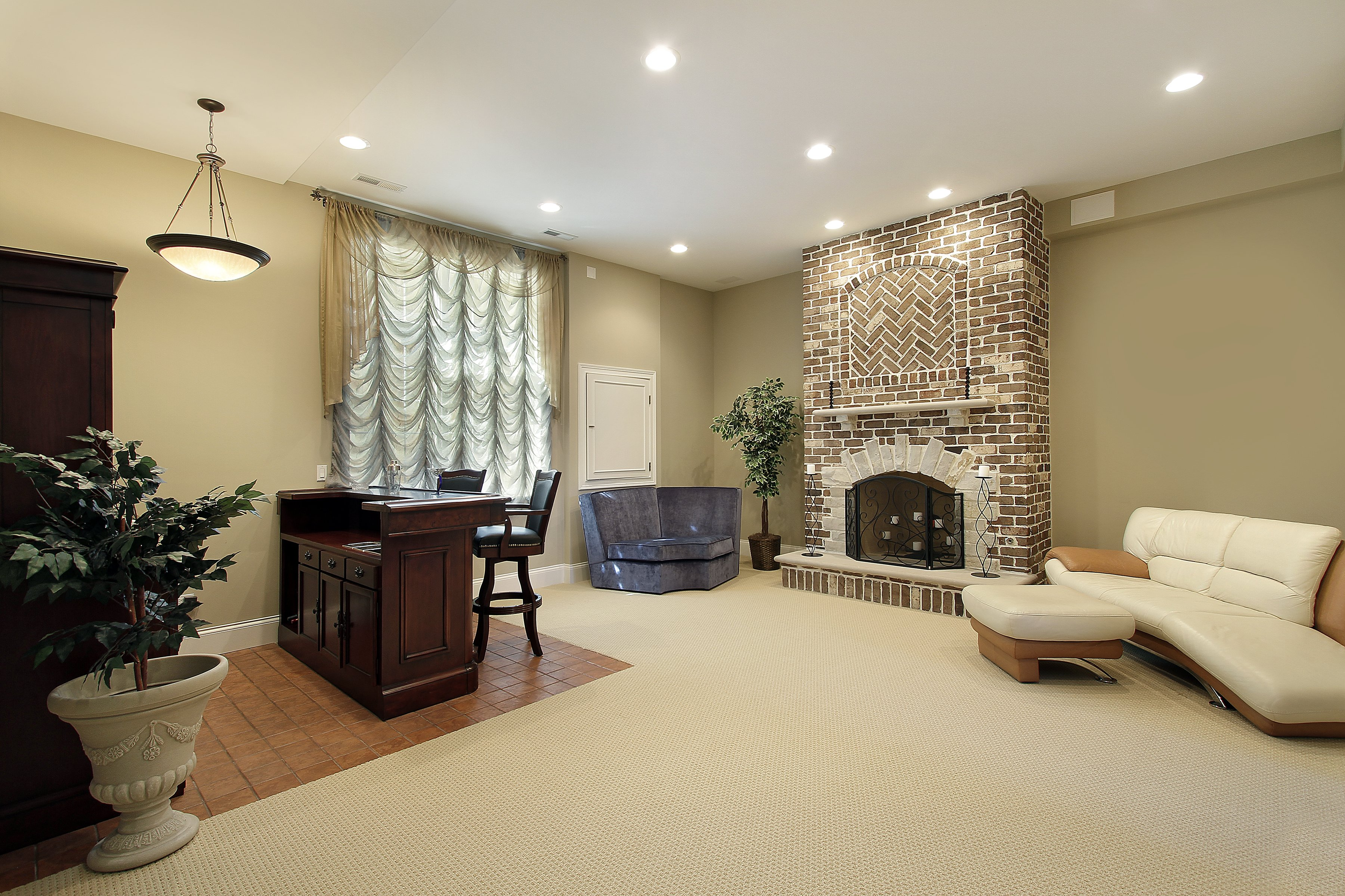Basement Living Room with heated floors