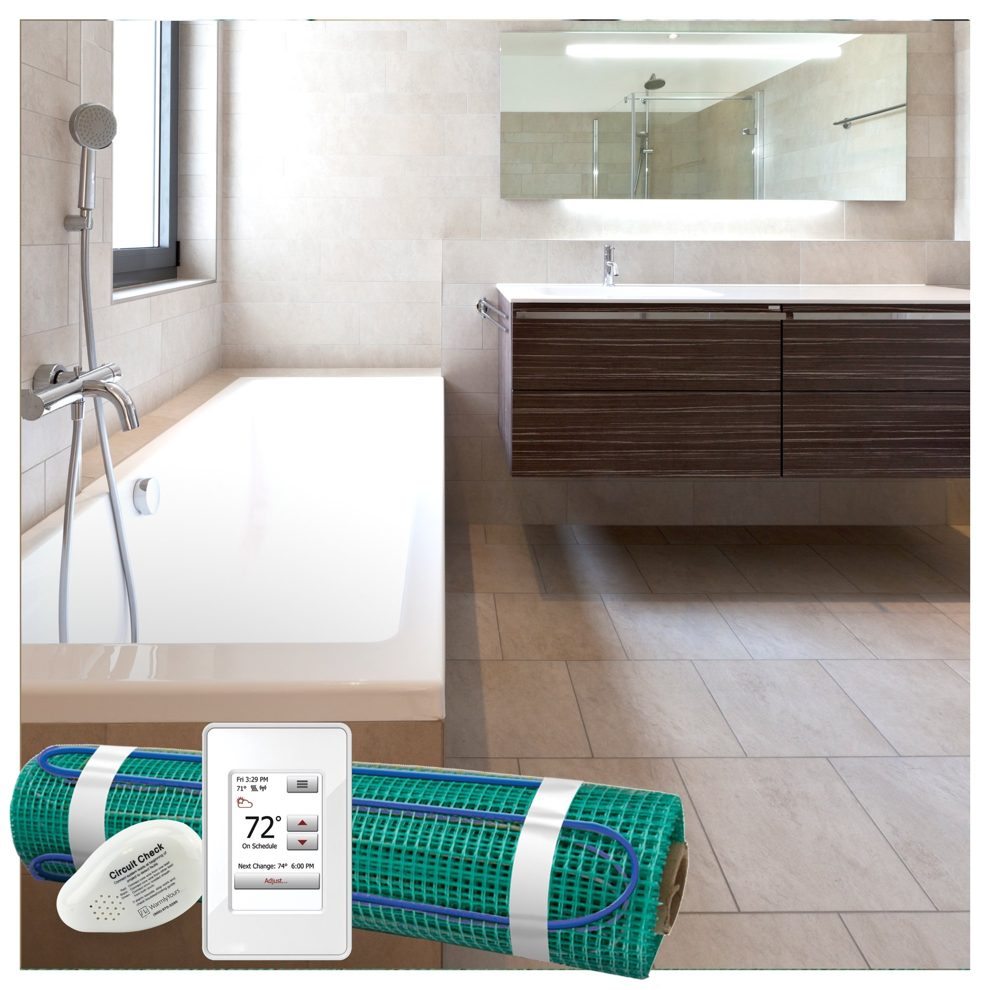 Bathroom with TempZone floor heating and Ember radiant panel.