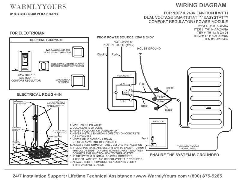 [SCHEMATICS_4FD]  Floor Heat System Specifications for Environ II™ Heating Mats   Wiring Diagram Heated Floor Mats      WarmlyYours