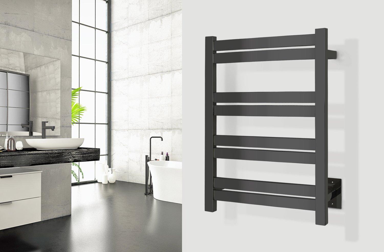 Black 400mm Towel Radiator: Maple 8 Towel Warmer, Black, Hardwired, 8 Bars