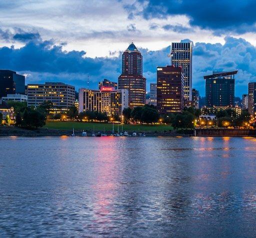 Portland OR Skyline at dusk - cropped