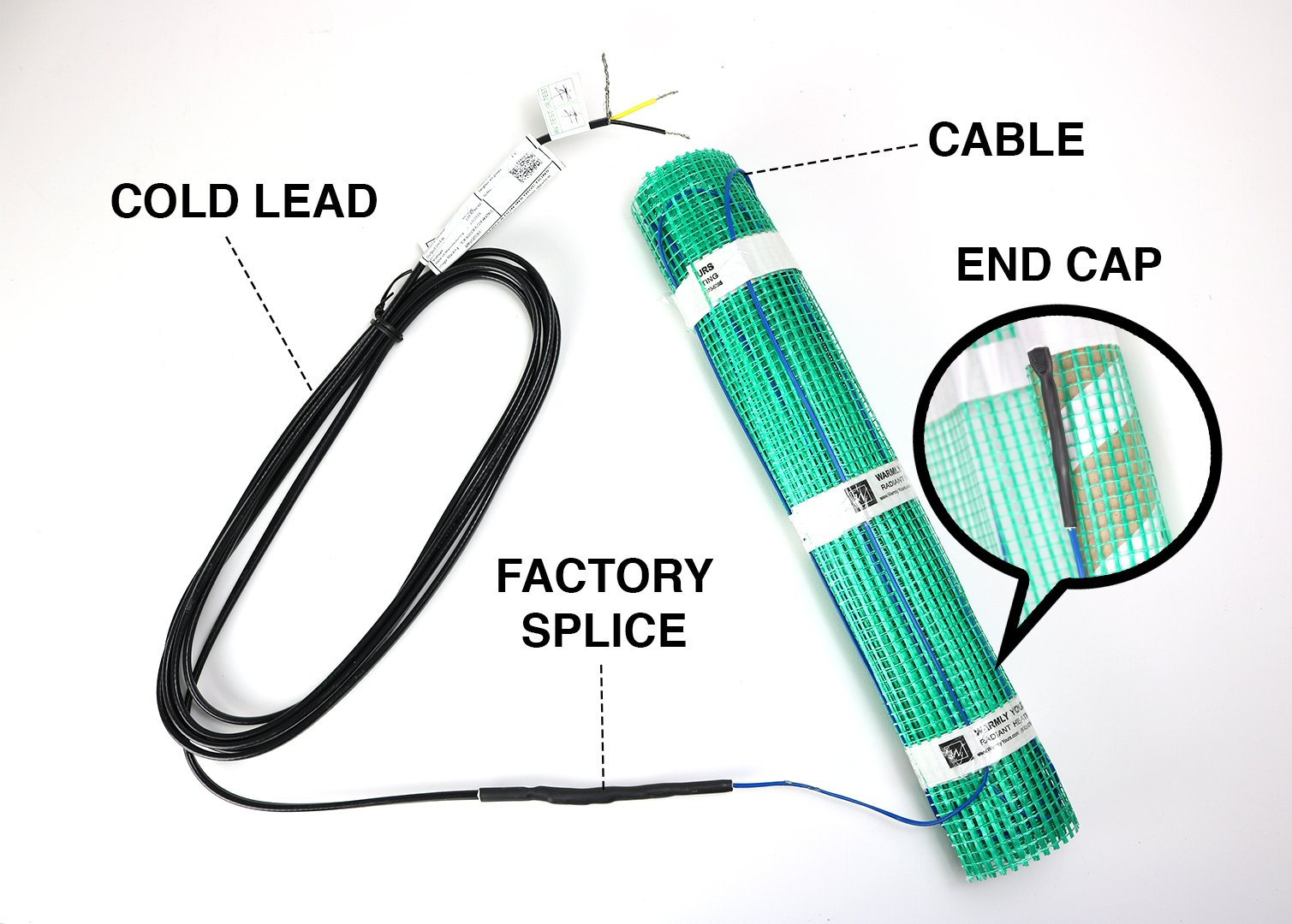1ft Single Cold Lead For Radiant In Floor Heating Systems Room Wiring Diagrams Blue Star Tempzone Flex Roll Electric Mat Diagram Labeled