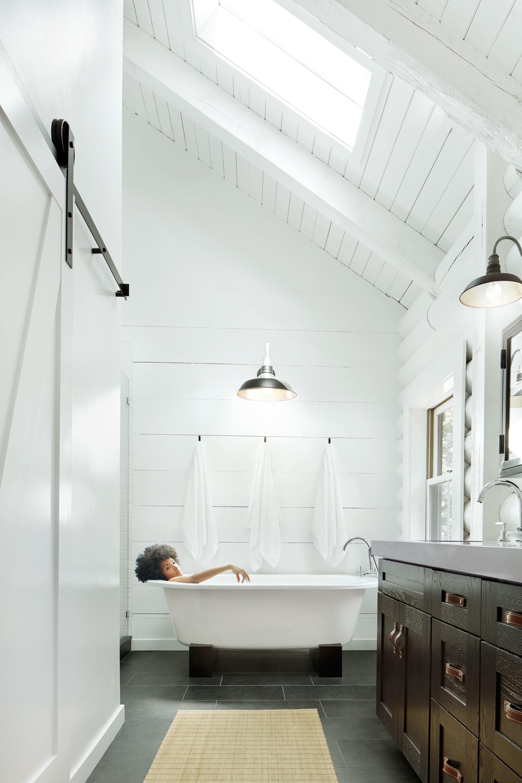 Woman Relaxing Bathtub Bathroom Modern Lifestyle Stock Photo