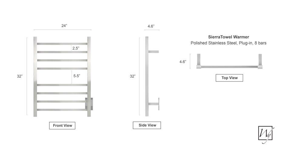 Sierra Towel Warmer Dimension Illustration