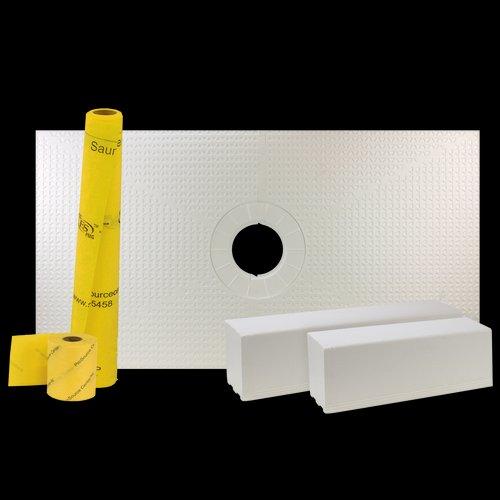 """Pro GEN II 32"""" x 60"""" Tile Waterproofing Shower Pan Kit with Center Drain Hole"""