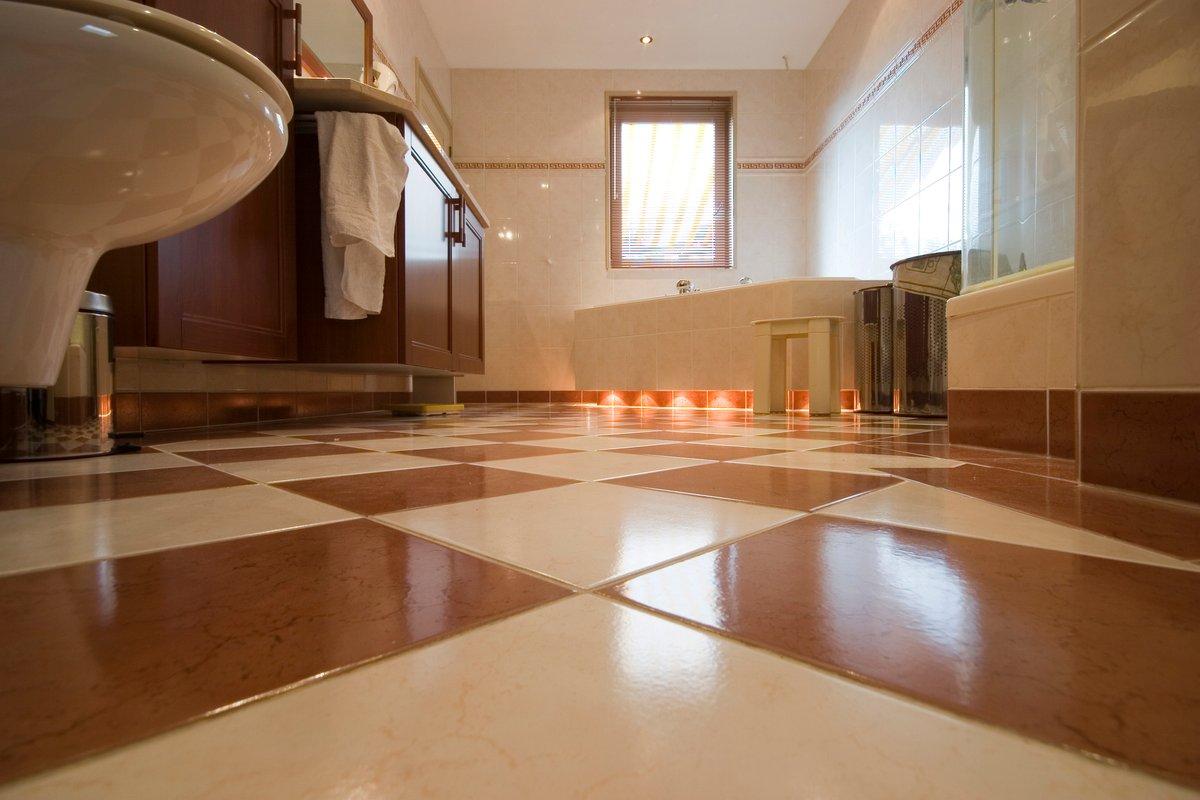 Bathroom Tile Floor Lifestyle Stock Photo
