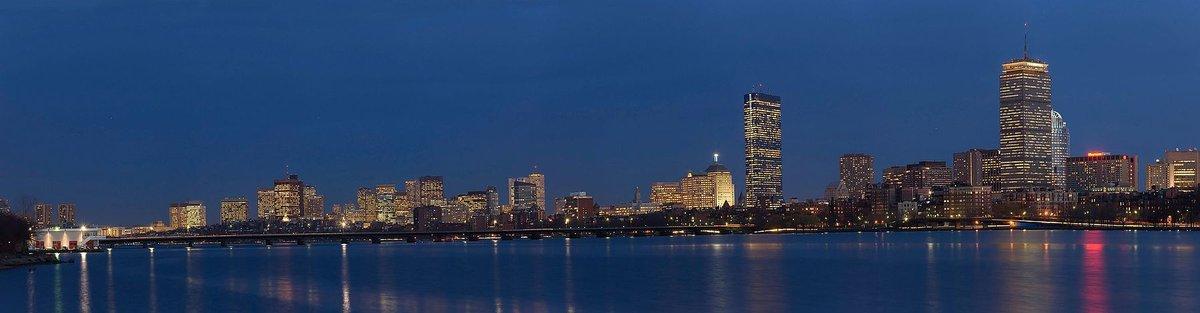 Boston Skyline Panorama Dusk