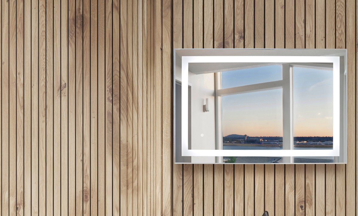 Horizontal Audrey LED Mirror Lifestyle Wood Background