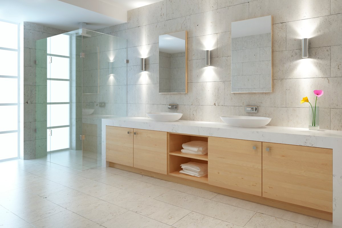 Modern Bathroom Lifestyle Stock Photo