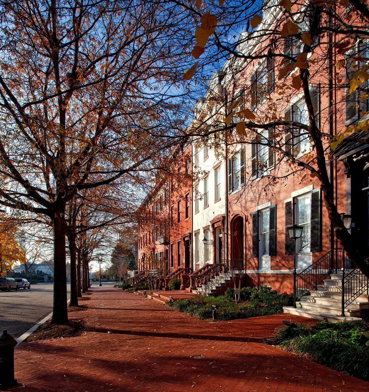 Washington DC Homes Sidewalk during Fall