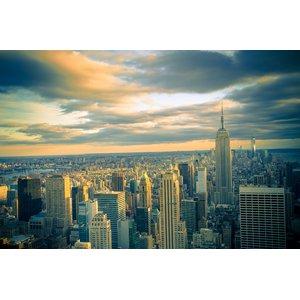 NYC Skyline With Dramatic Evening Sky