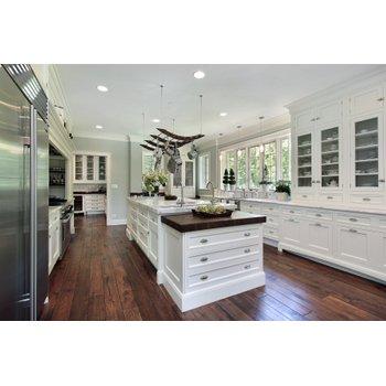 White kitchen with dark hardwood baf6d9