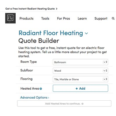 Radiant Floor Heating Quote Builder Tool