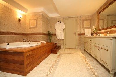 Bathroom enhanced by radiant floor heating