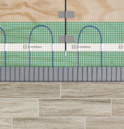 Cross-section of a tile floor: subfloor, electric heating roll, thinset, and tile flooring