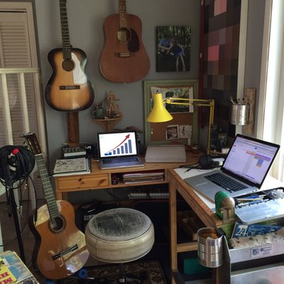 Home office with musical instruments and a chart