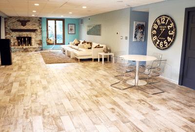 Tile Floor Basement with Electric Floor Heating - Julia's Home