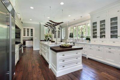 White Kitchen with Dark Hardwood