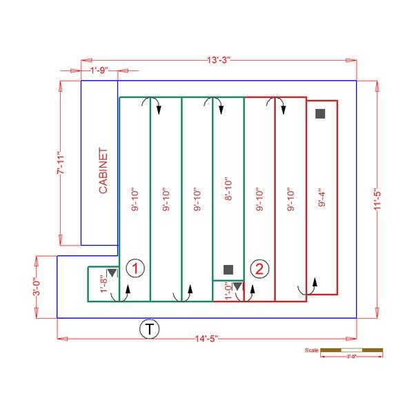 Basement/Bedroom Floorplan with Radiant Heat