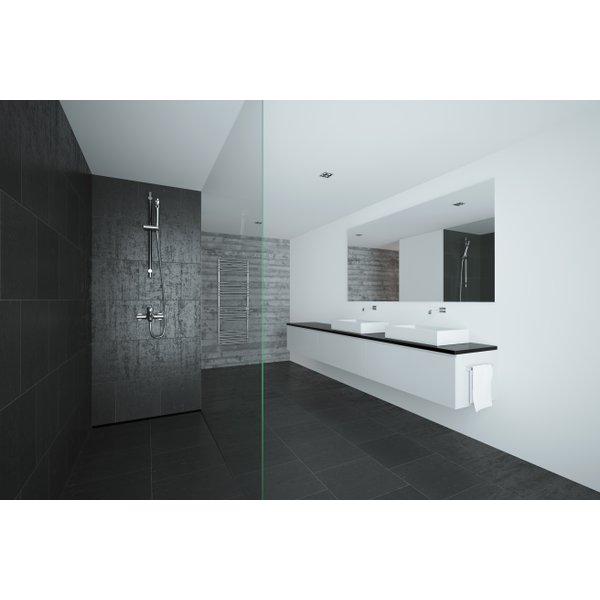 Curbless shower with heated tile floor