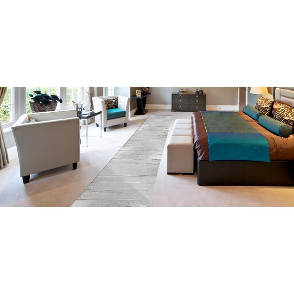 Carpeted bedroom with transparent effect to show electric floor heating mat