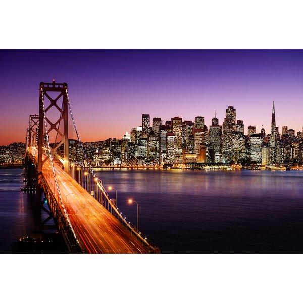 San Francisco Skyline w Bay Bridge at night