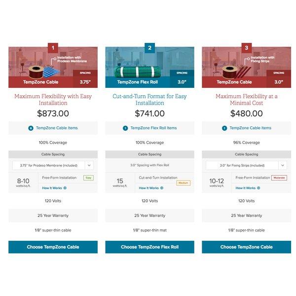 TempZone floor heating system comparison sheet