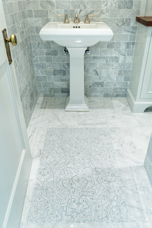 Powder Room With Floor Heating Showcase, Bathroom Tile Cincinnati