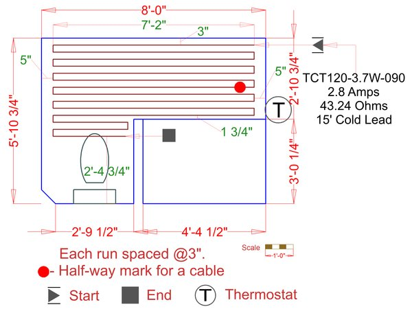Marble electric floor heating cable example floorplan 657f5f