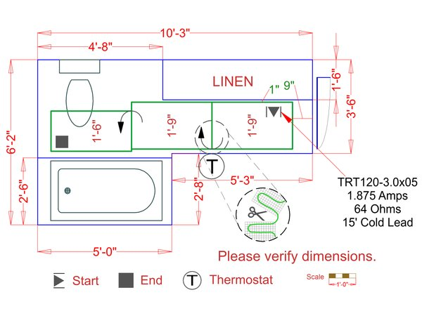 Stone electric floor heating fixed size mat example floorplan cb0c84