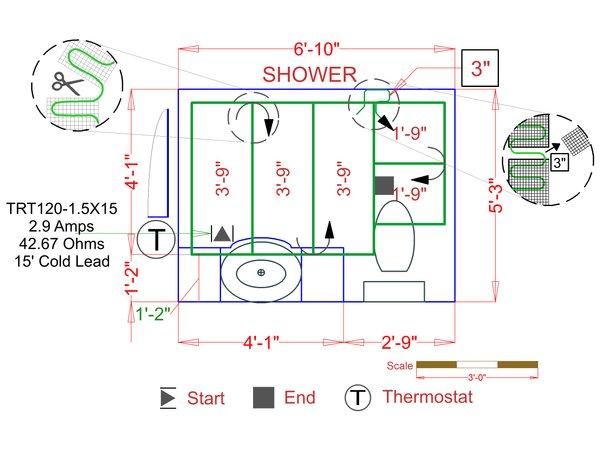 Tile electric floor heating cut to fit example floorplan bef085
