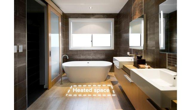 heated space example in modern bathroom