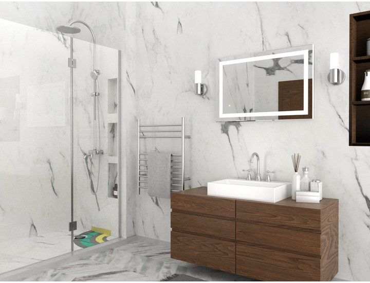 Shower Waterproofing Kit Shower LED Mirror and Towel Warmer Lifestyle