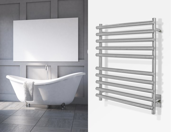 Rome Towel Warmer Brushed Lifestyle